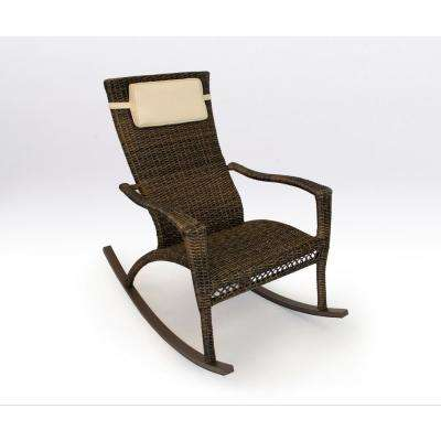 Maracay Pecan Wicker Oversized Outdoor Rocking Chair with Head Cushion