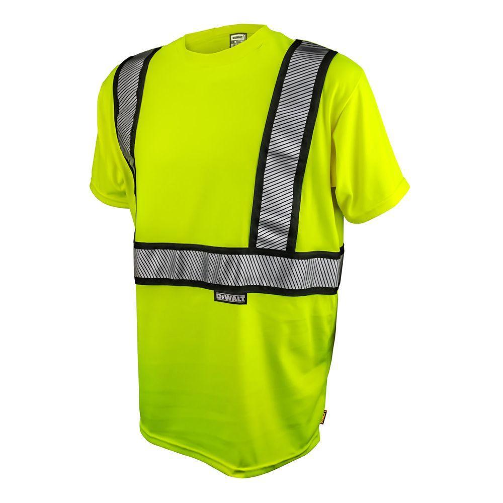 Men's 5X-Large High Visibilty Green Short Sleeve Class 2 Flame Resistant T-Shirt -  DEWALT, DST911-5X