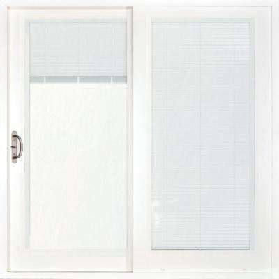 72 in. x 80 in. Woodgrain Interior and Smooth White Exterior Left-Hand Composite Sliding Patio Door with Built in Blinds