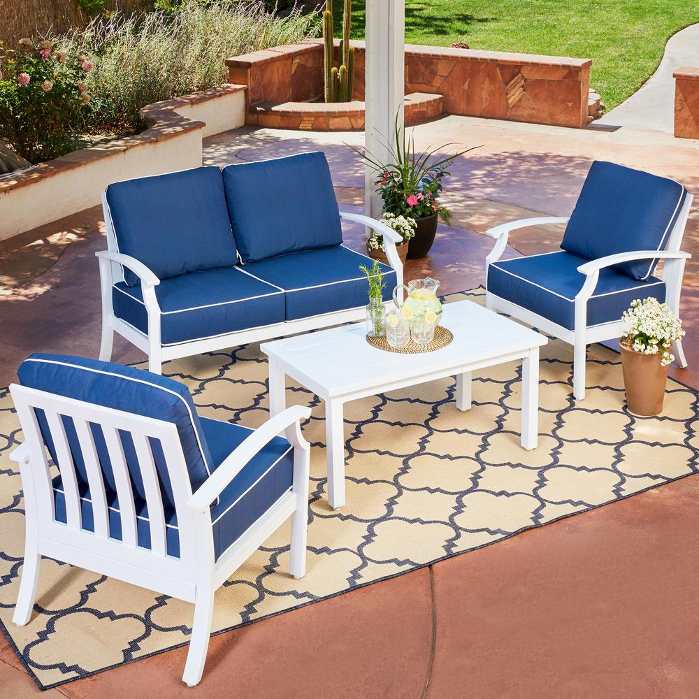 Bridgeport 4 piece metal patio conversation set with blue cushions