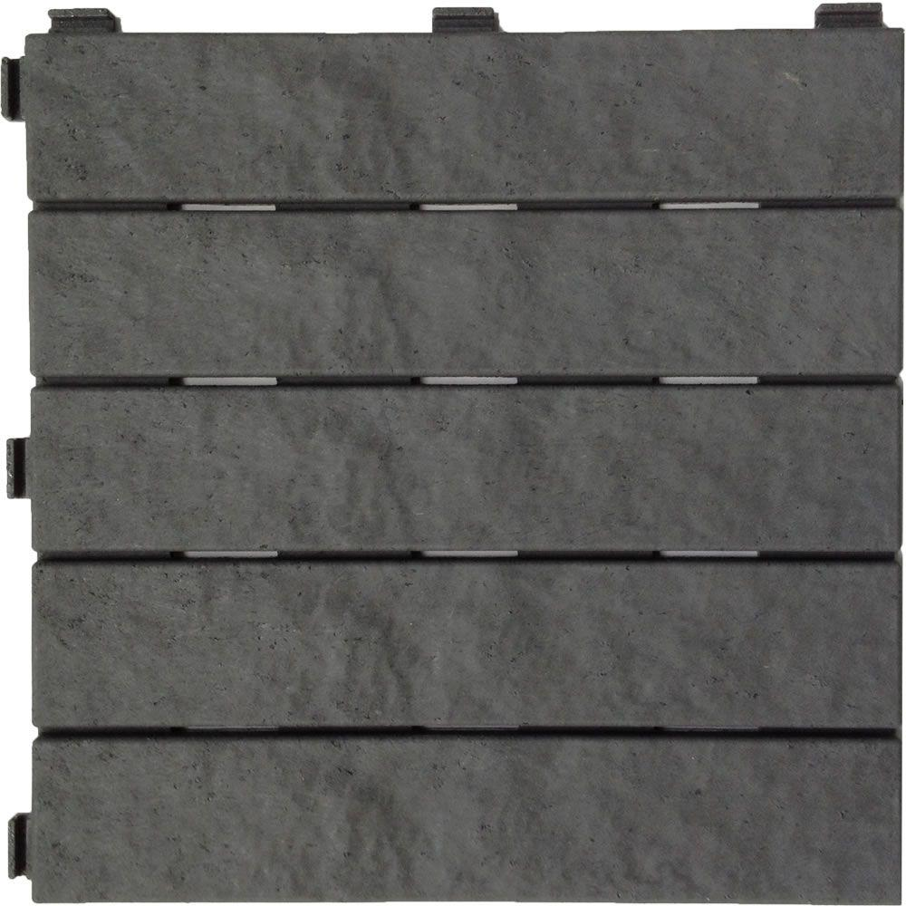 Multy Home 12 in. x 12 in. Slate Rubber Deck Tile (6-Pack)