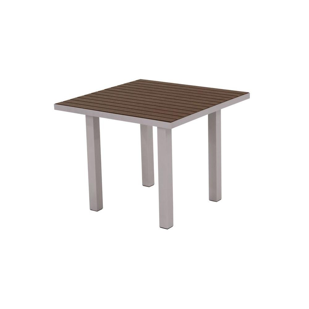 POLYWOOD Euro Textured 36 in. Silver Square Patio Dining Table with Mahogany Top
