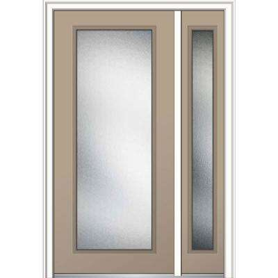50 in. x 80 in. Micro Granite Glass Right-Hand Full Lite Classic Painted Steel Prehung Front Door with Sidelite