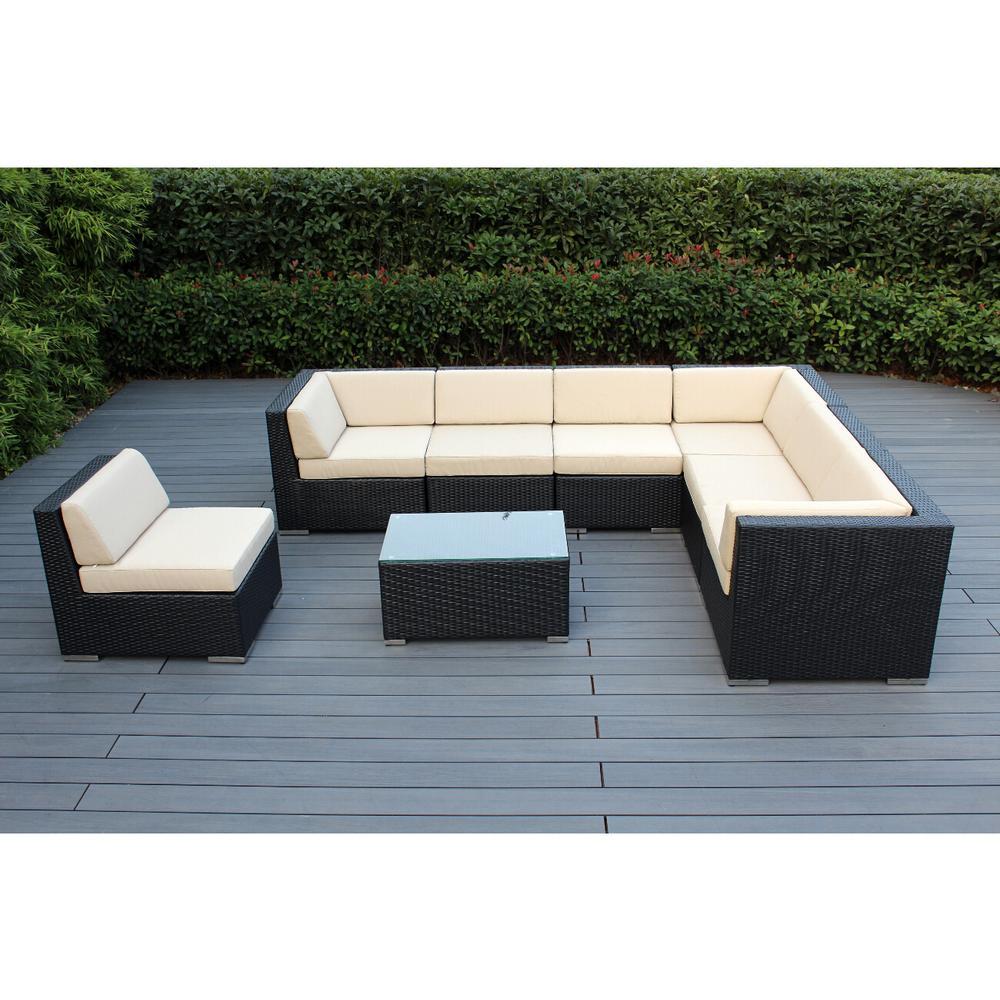 Ohana Depot Ohana Black 8-Piece Wicker Patio Seating Set with Spuncrylic Beige Cushions