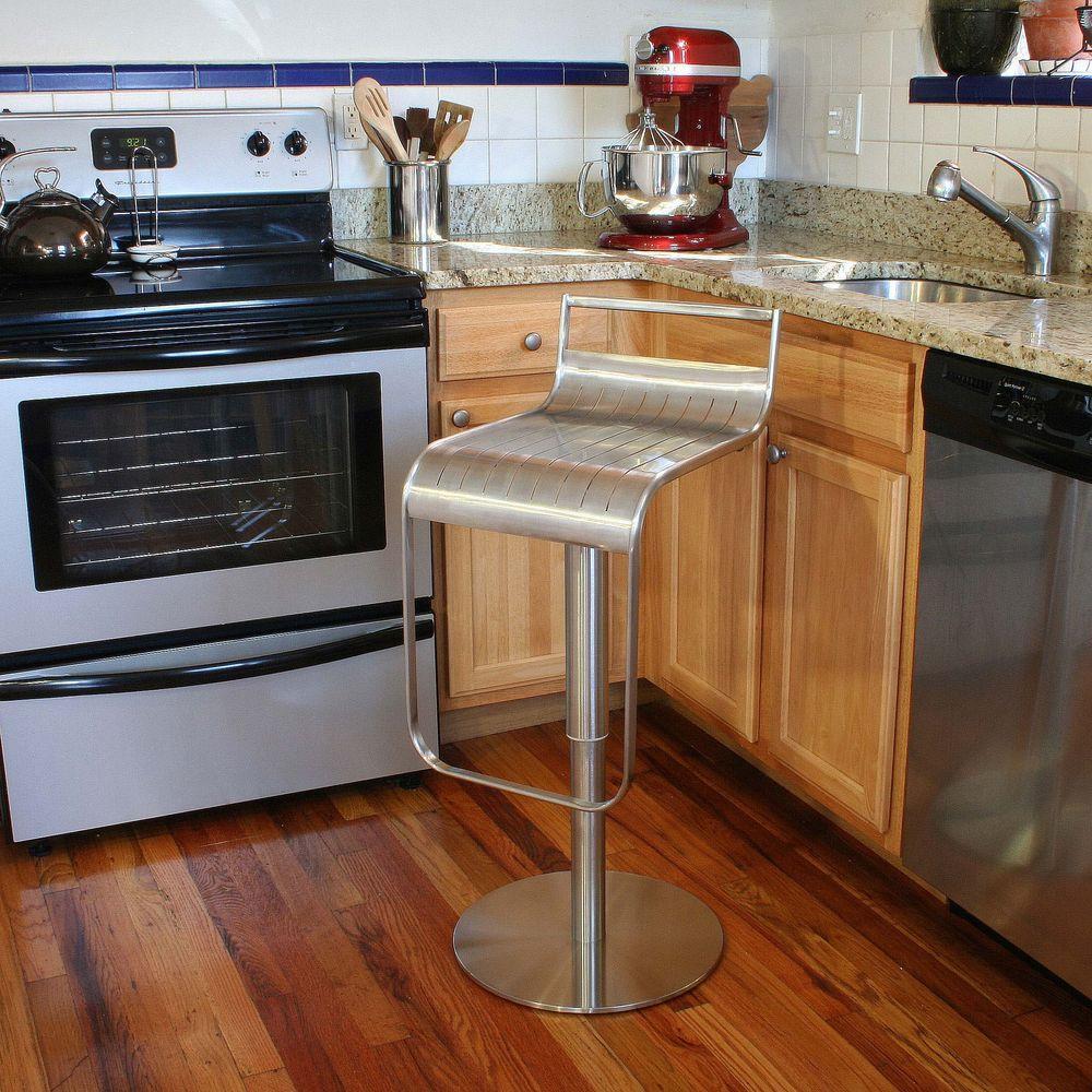 Adjustable Height Stainless Steel Bar Stool