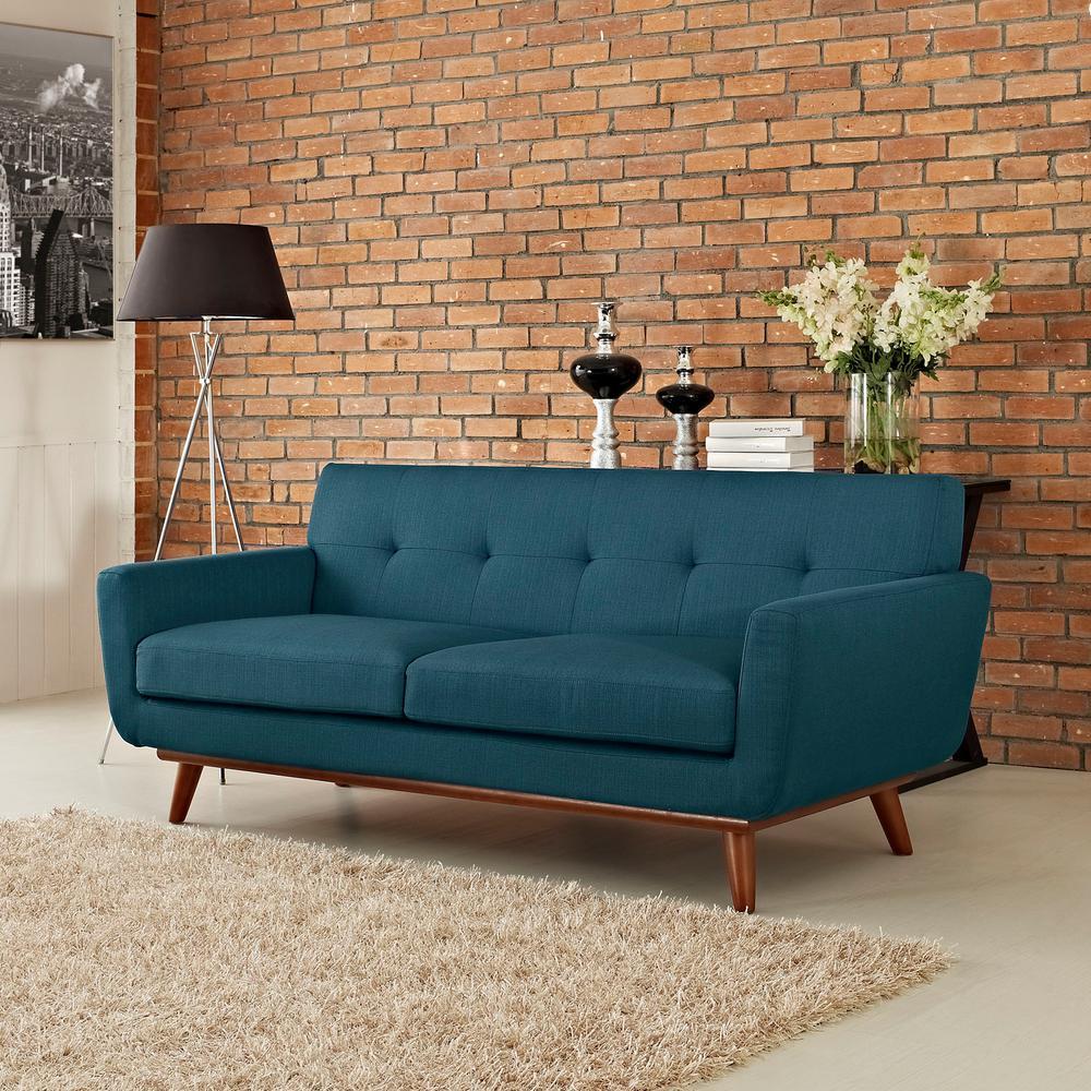 Engage Azure Upholstered Fabric Loveseat