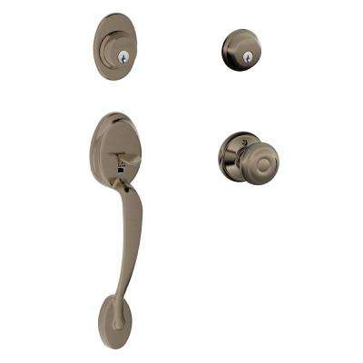 Plymouth Double Cylinder Antique Pewter Handleset with Georgian Interior Knob
