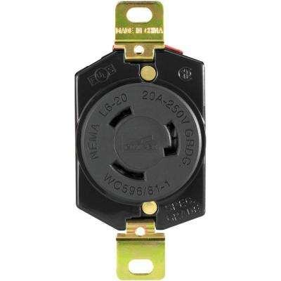 Hart-Lock Industrial Grade 20 Amp 250-Volt Receptacle with Safety Grip, Black and White