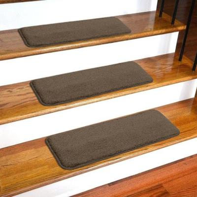 Softy Collection Brown 9 in. x 26 in. Rubber Back Stair Tread Cover (Set of 14)