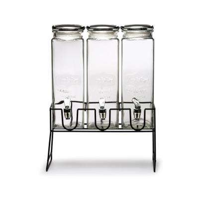 Yorkshire Three 77.75 oz.Triple XL Tall Clear Beverage Dispensers with Black Lids and Black Metal Stand