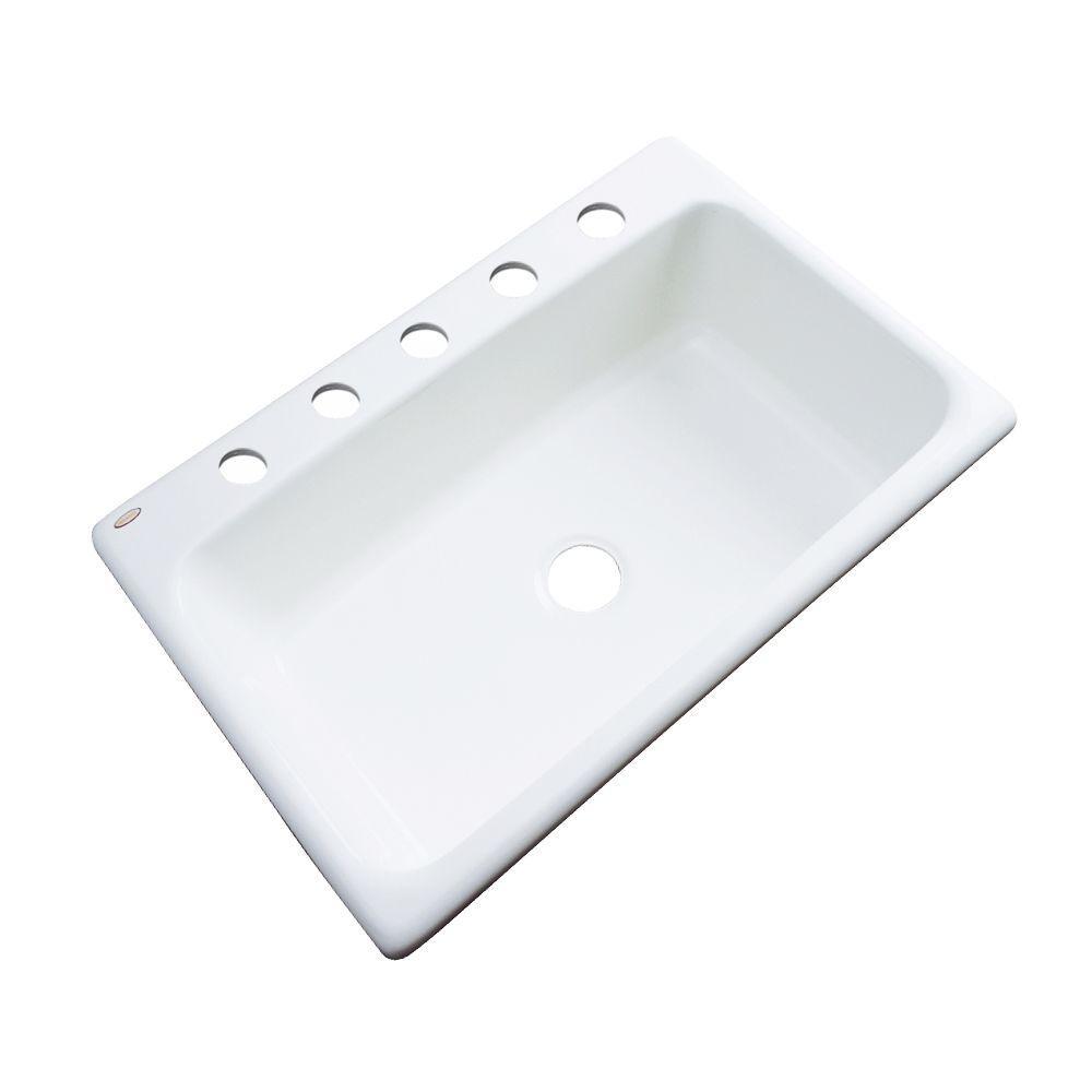 Manhattan Drop-In Acrylic 33 in. 5-Hole Single Bowl Kitchen Sink in