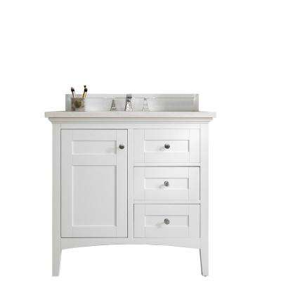 Palisades 36 in. W Single Bath Vanity in Bright White with Soild Surface Vanity Top in Arctic Fall with White Basin