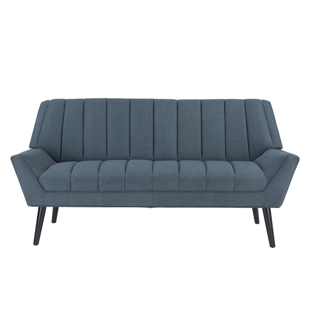 Rochelle Caribbean Blue Mid Century Modern Arm Sofa in Plush Low-Pile
