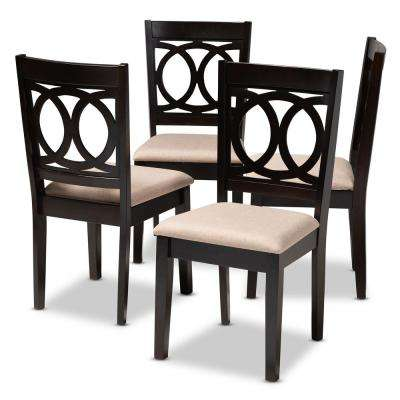 Lenoir Sand Brown and Espresso Fabric Dining Chair (Set of 4)