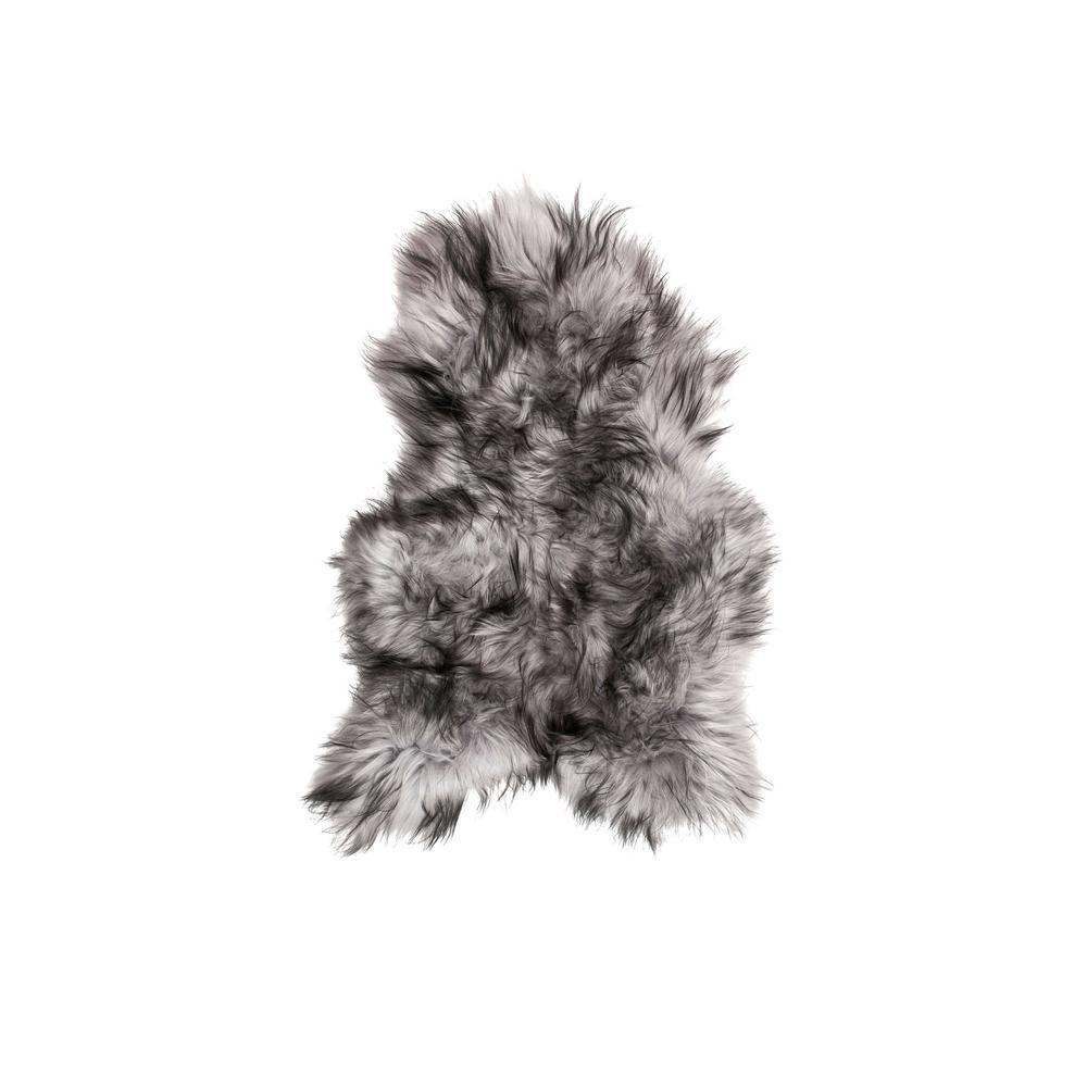 Josephine Metallic Silver 2 ft. x 3 ft. Specialty Sheepskin Area Rug