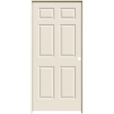 36 in. x 80 in. Molded Textured 6-Panel Primed White Hollow Core Composite Single Prehung Interior Door