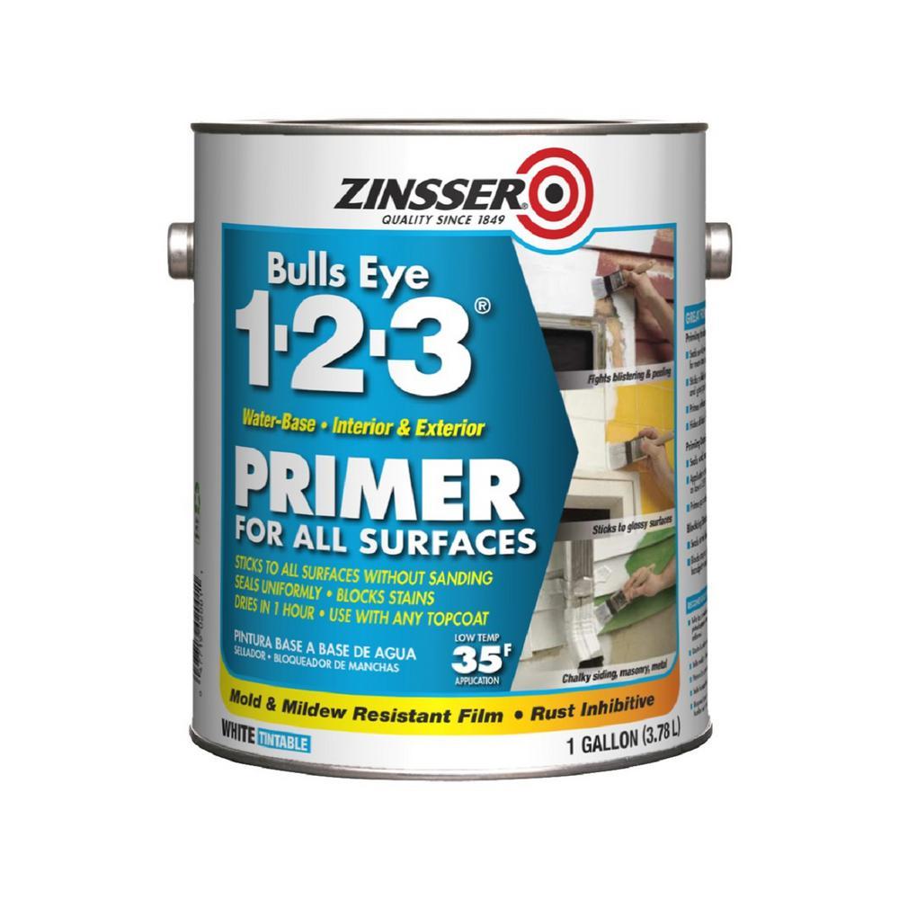 Zinsser Bulls Eye 1-2-3 1 Gal. White Water-Based Interior/Exterior Primer and Sealer (4-Pack)
