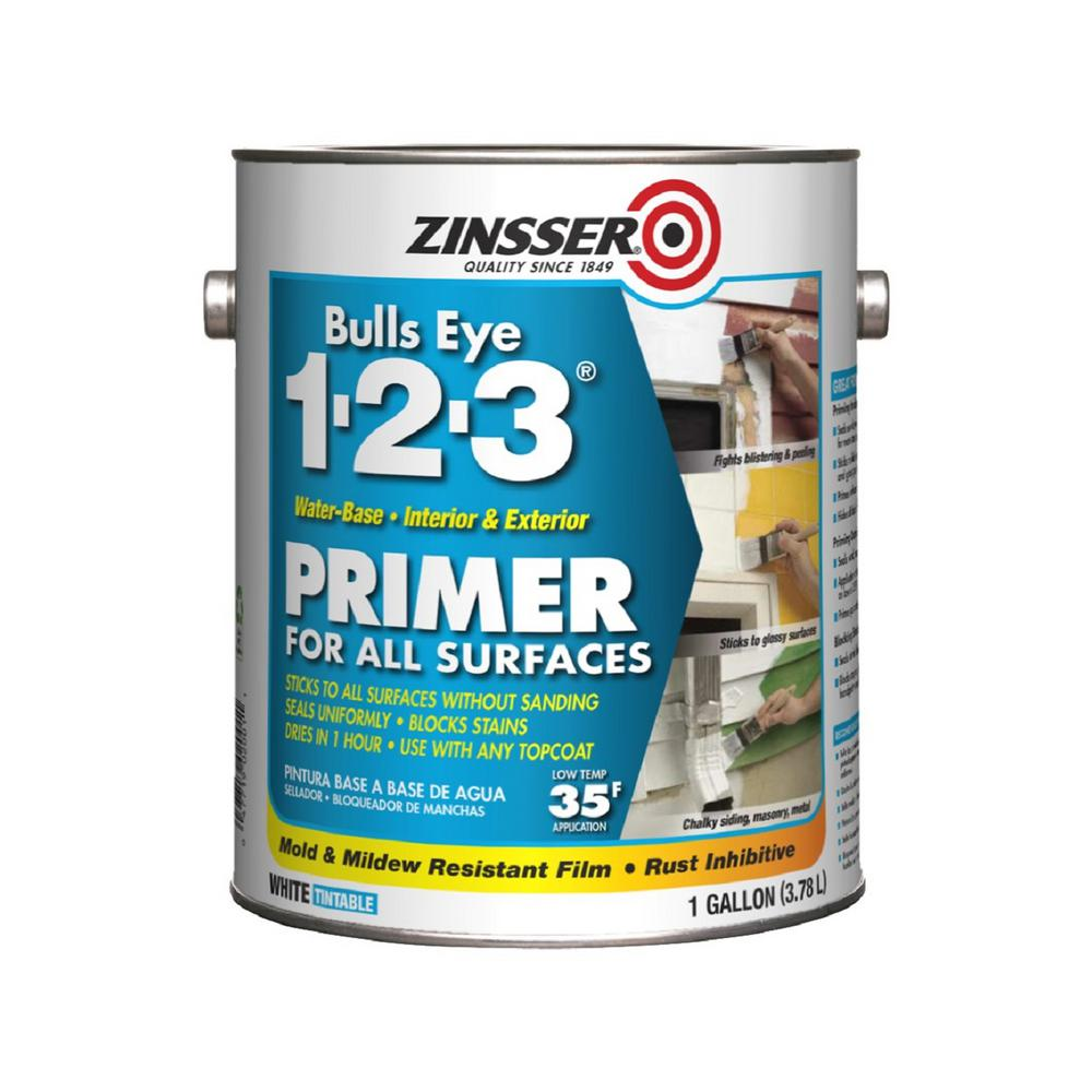 Zinsser Bulls Eye 1 2 3 1 Gal White Water Based Interior Exterior Primer And Sealer 2001 The Home Depot