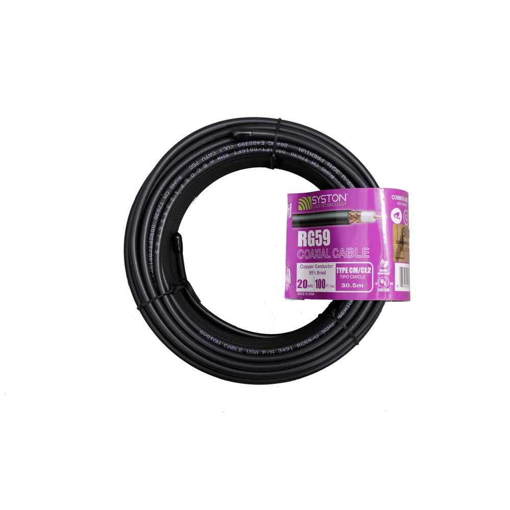 Syston Cable Technology RG59 Dual Shield 100 Ft. Black CM