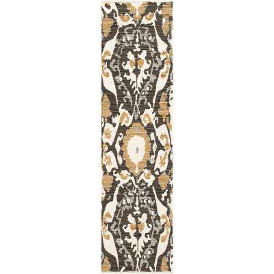 Elaine Hudson Onyx Black 2 ft. x 8 ft. Indoor Runner Rug