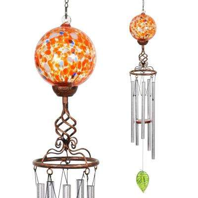 Solar Orange Ball Metal and Glass Wind Chimes