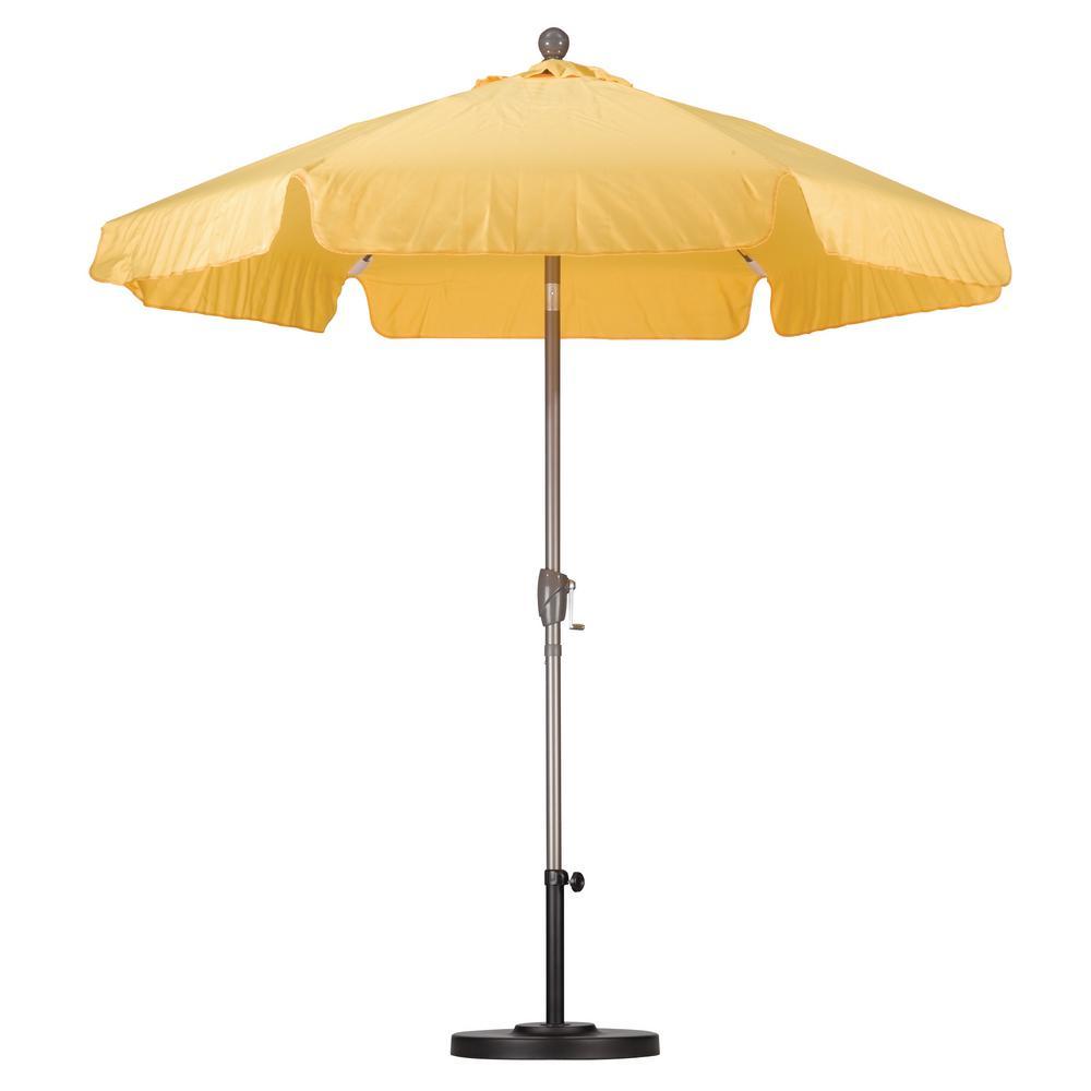 California Umbrella 7-1/2 ft. Fiberglass Push Tilt Patio Umbrella in Yellow SpunPoly