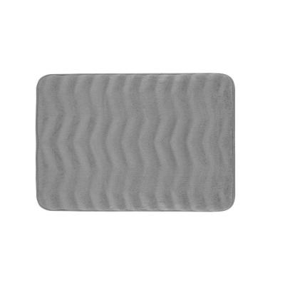 Waves Light Gray 17 in. x 24 in. Memory Foam Bath Mat