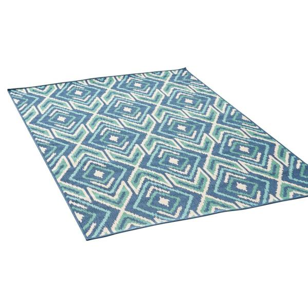 Noble House Myrtle Navy And Green 5 Ft X 8 Ft Geometric Outdoor Area Rug 42548 2 The Home Depot