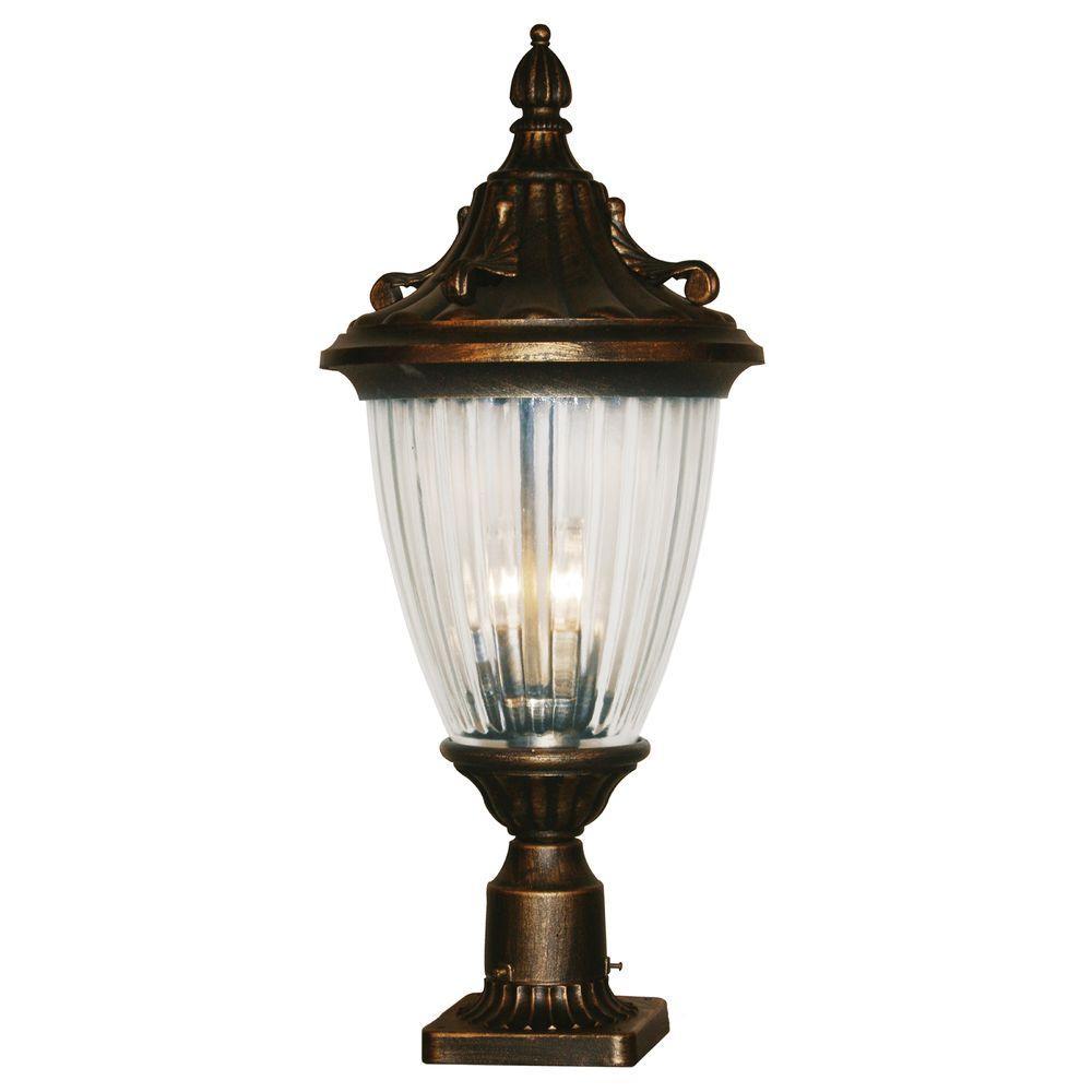 Tulen Lawrence 3-Light Outdoor Black Gold Incandescent Post Light