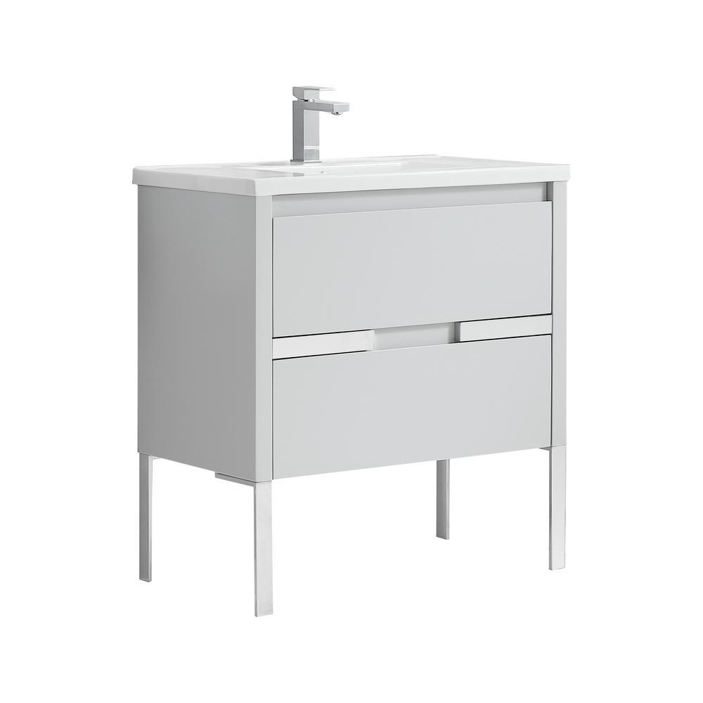 Cahaba Braxton Bath Vanity Dove Gray Ceramic Vanity Top White Basin Product Picture
