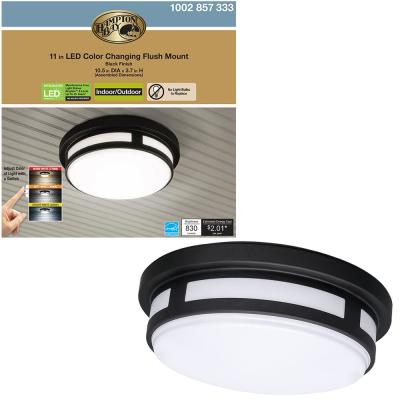 11 in. 1-Light Round Black LED Indoor Outdoor Flush Mount Porch Ceiling Light 830 Lumens 3 Color Temp Changes Wet Rated