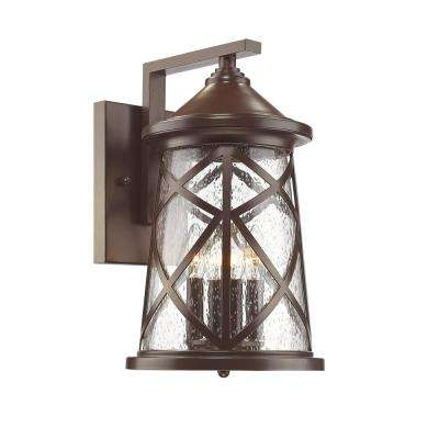 4-Light 16-1/4 in. High Powder Coated Bronze Outdoor Wall Lantern Sconce with Glass Shade