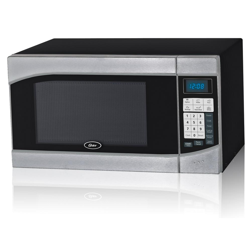 Oster Countertop Microwave Stainless Steel Black .9 cu. Ft. 900-Watt with Push Button