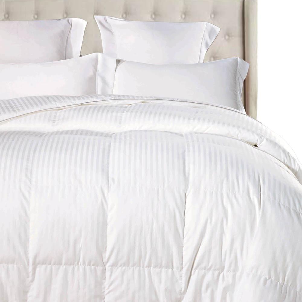 White Striped OverKing Size Luxurious Down Alternative Comforter