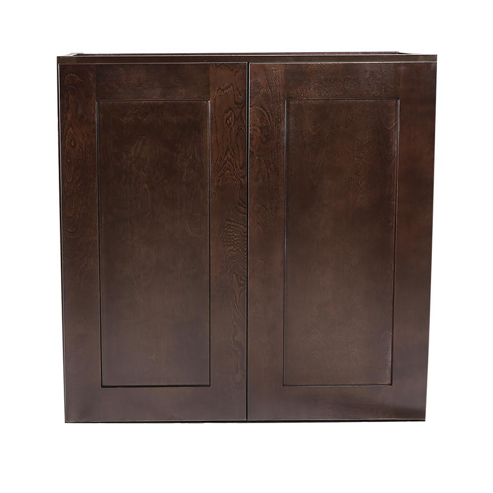 Brookings Fully Assembled 27x30x12 in. Kitchen Wall Cabinet in Espresso