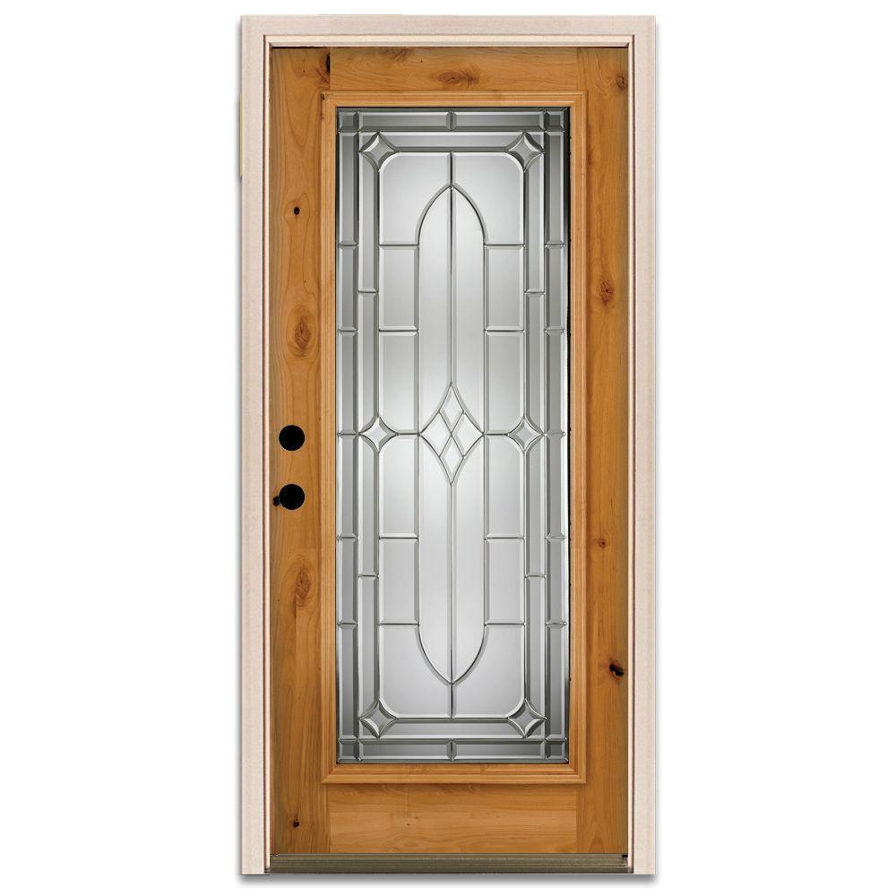Steves & Sons Brookhollow Full Lite Prefinished Knotty Alder Wood Prehung Front Door-DISCONTINUED