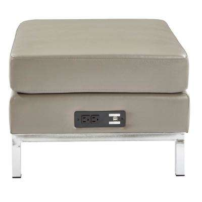 Smoke Faux Leather Ottoman Modular Component with Chrome Base and AC/USB 3.0 Charging Station