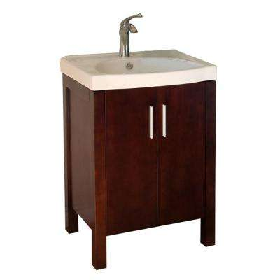 Haywood 24 in. Single Vanity in Dark Walnut with Vitreous China Vanity Top in White