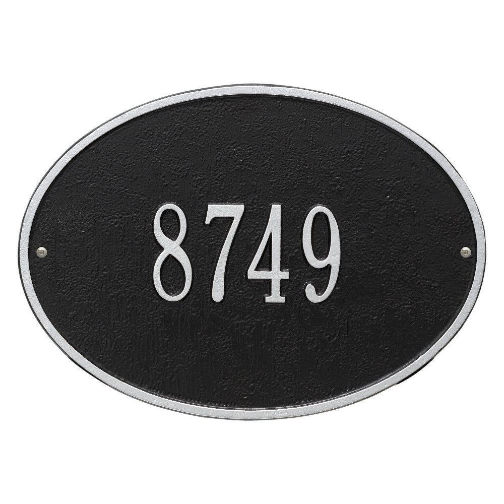 Hawthorne Standard Oval Black/Silver Wall 1-Line Address Plaque