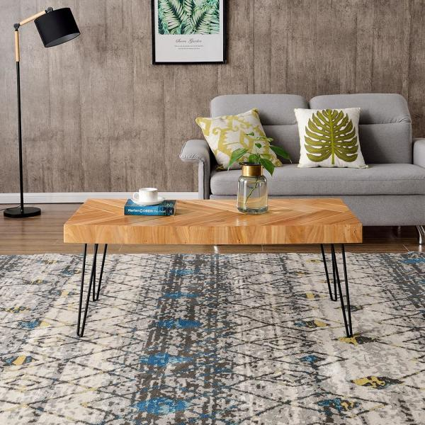 Harper Bright Designs 44 In Glossy Oak Large Rectangle Wood Coffee Table Wf190111aal The Home Depot