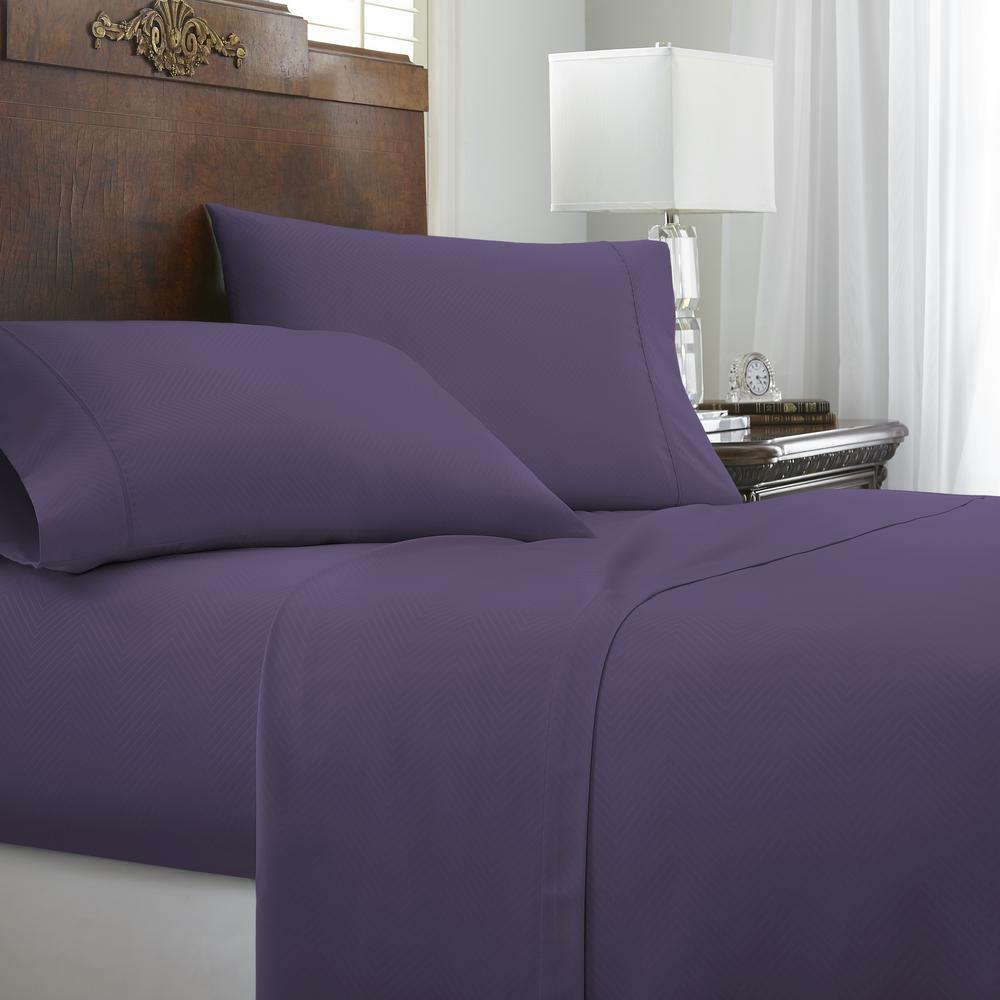 Genial Becky Cameron Embossed Chevron 4 Piece Purple Full Performance Bed Sheet Set