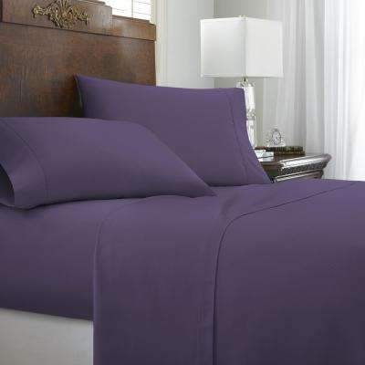 Embossed Chevron 4-Piece Purple Full Performance Bed Sheet Set