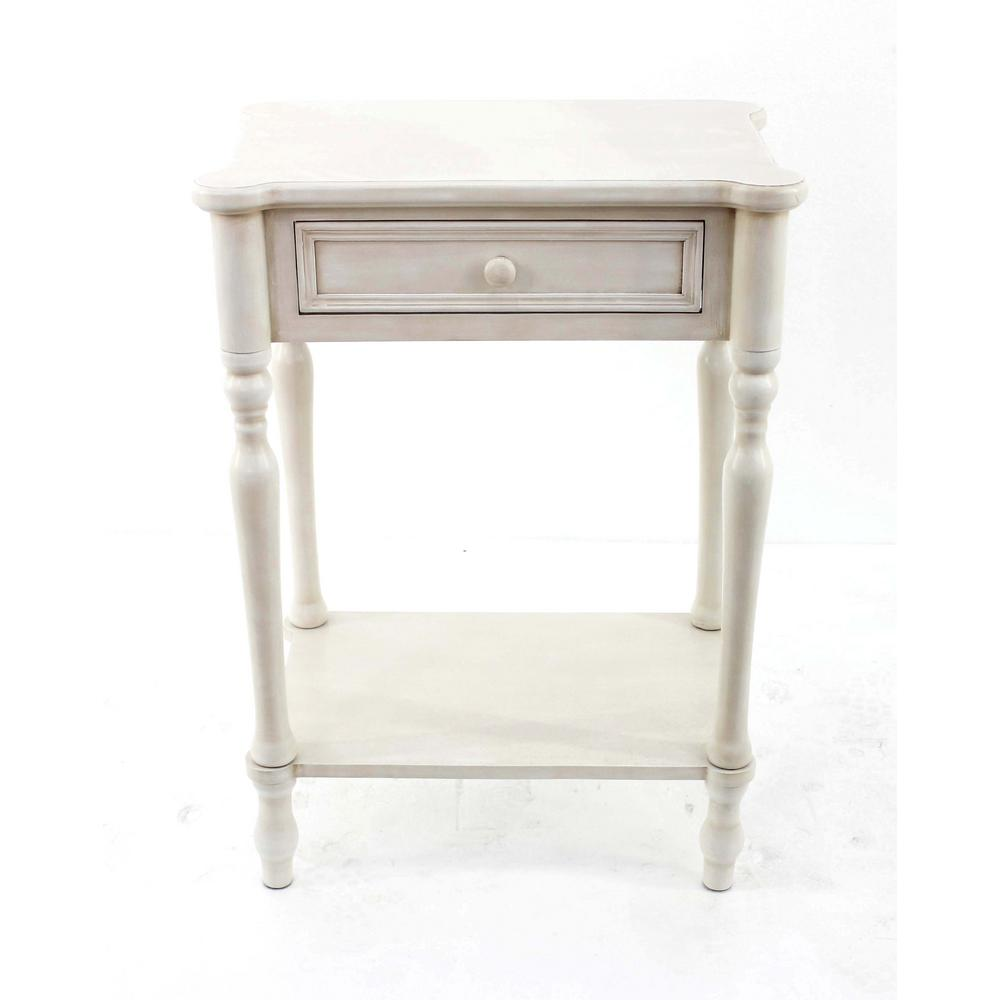 White Wood End Table With Drawer