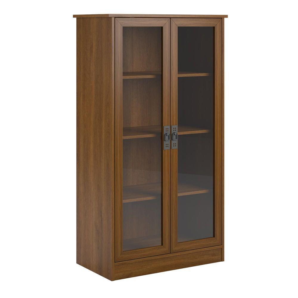 Ameriwood Home Lockwood Cherry Glass Door Bookcase-HD62873