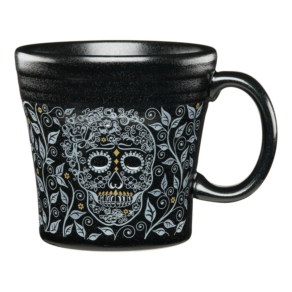 Fiesta Fiesta skull and vine 15 oz. Black Ceramic Tapered Mug