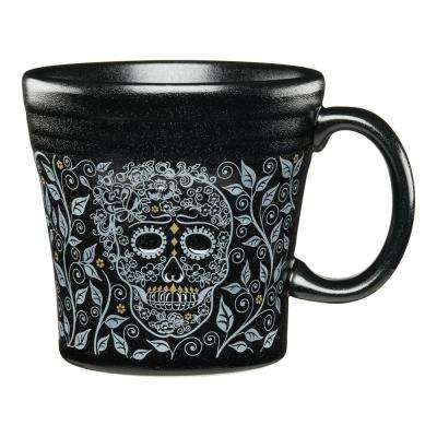 skull and vine 15 oz. Black Ceramic Tapered Mug