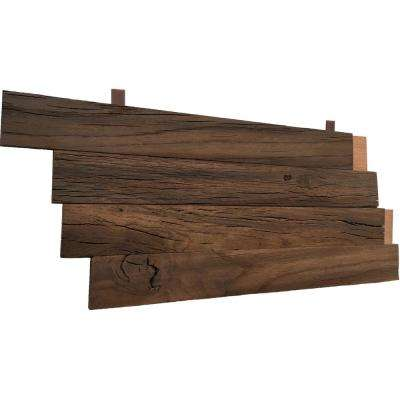3D Holey Wood 28 in. W x 11 in. H Reclaimed Wood Oak Decorative Wall Panel in Brown (10-Pack)