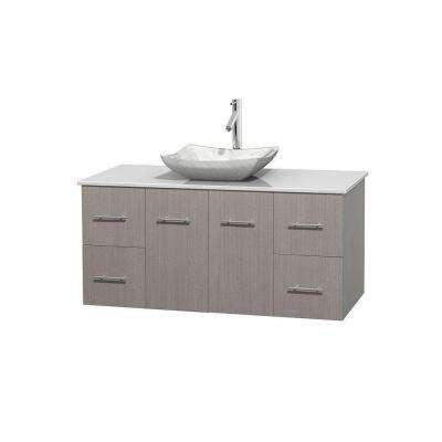 Centra 48 in. Vanity in Gray Oak with Solid-Surface Vanity Top in White and Sink