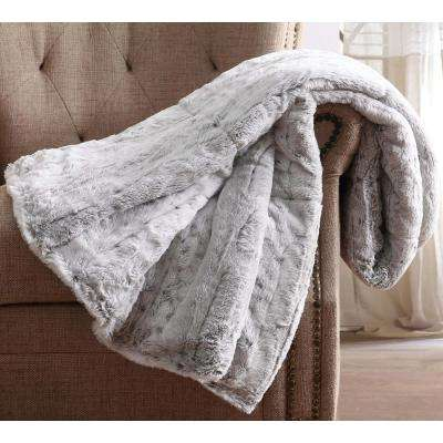 Snow Leopard Fur Filled Grey Throw with Gift Box