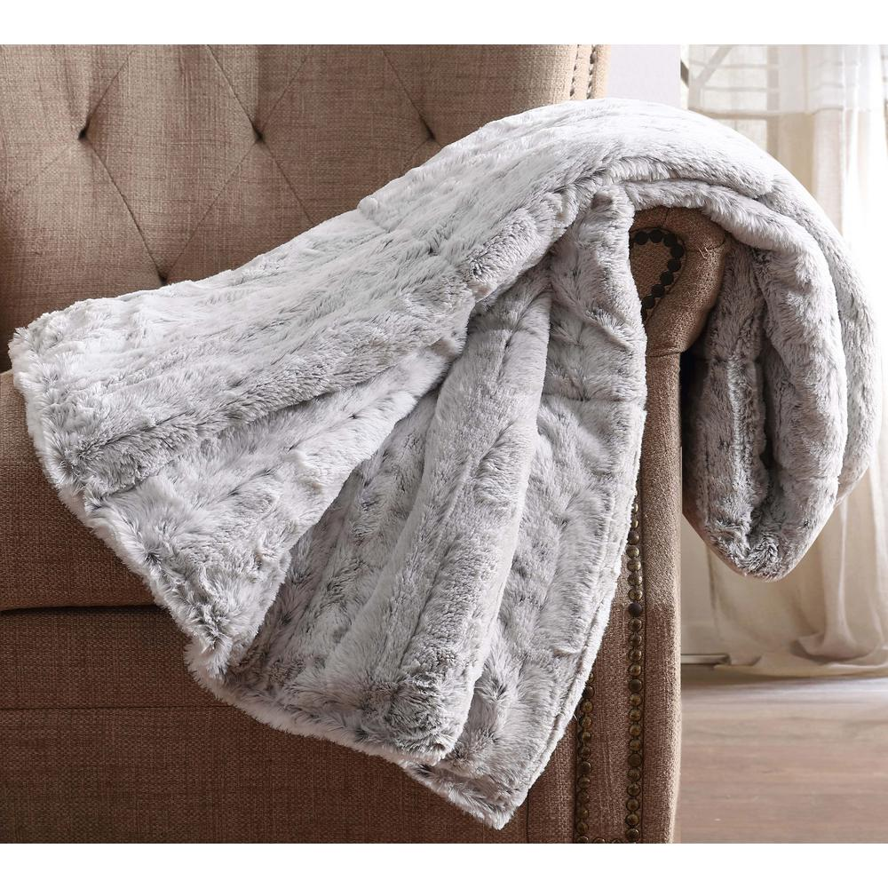 ChristianSiriano Christian Siriano Snow Leopard Fur Filled Grey Throw with Gift Box